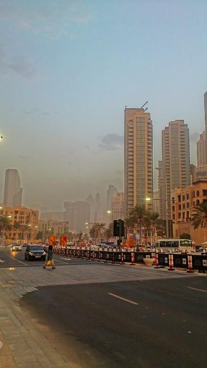 Dust storm at the Downtown Dubai